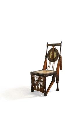 Lot A walnut and copper side chair