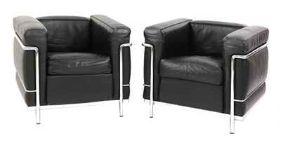 Lot 516 - A pair of leather 'LC2' armchairs