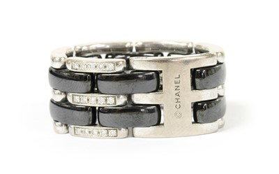 Lot 42 - An 18ct white gold and black ceramic Chanel 'J12 Ultra' ring