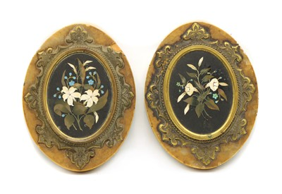 Lot 115 - A pair of pietra dura oval panels