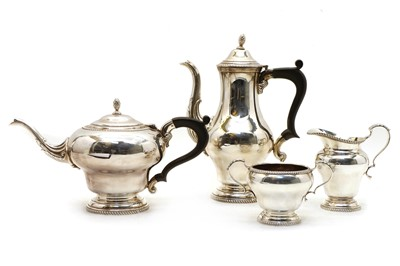 Lot 17 - A four piece silver tea and coffee service