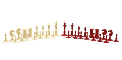 Lot 63 - A plain and stained ivory chess set