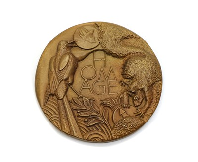 Lot 76 - A bronze medallion 'Homage to Collectors'
