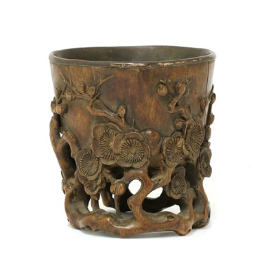 Lot 187 - A Chinese wood cup