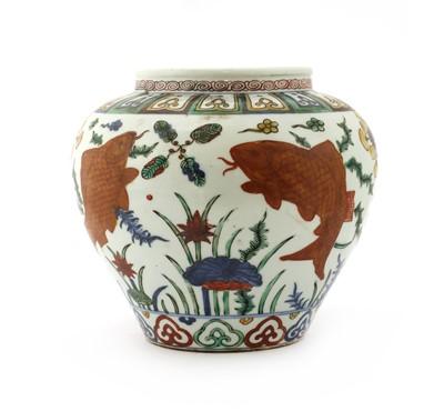 Lot 60 - A Chinese wucai jar