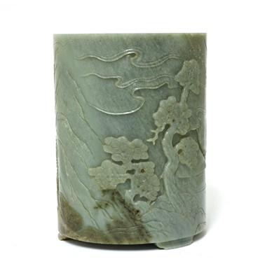 Lot 95 - A Chinese jade brush pot