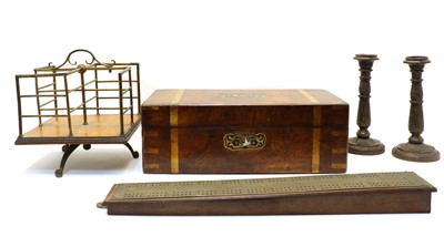 Lot 105 - A Victorian walnut and brass bound writing slope
