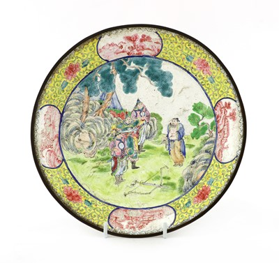Lot 168 - A Chinese export Canton painted enamel dish