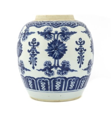 Lot 25 - A Chinese blue and white jar