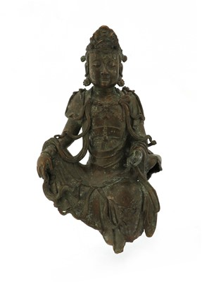 Lot 131 - A Chinese bronze guanyin