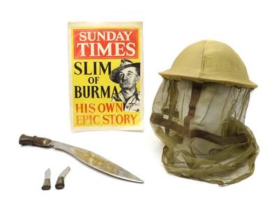 Lot 18A - A WWII Burma campaign steel helmet