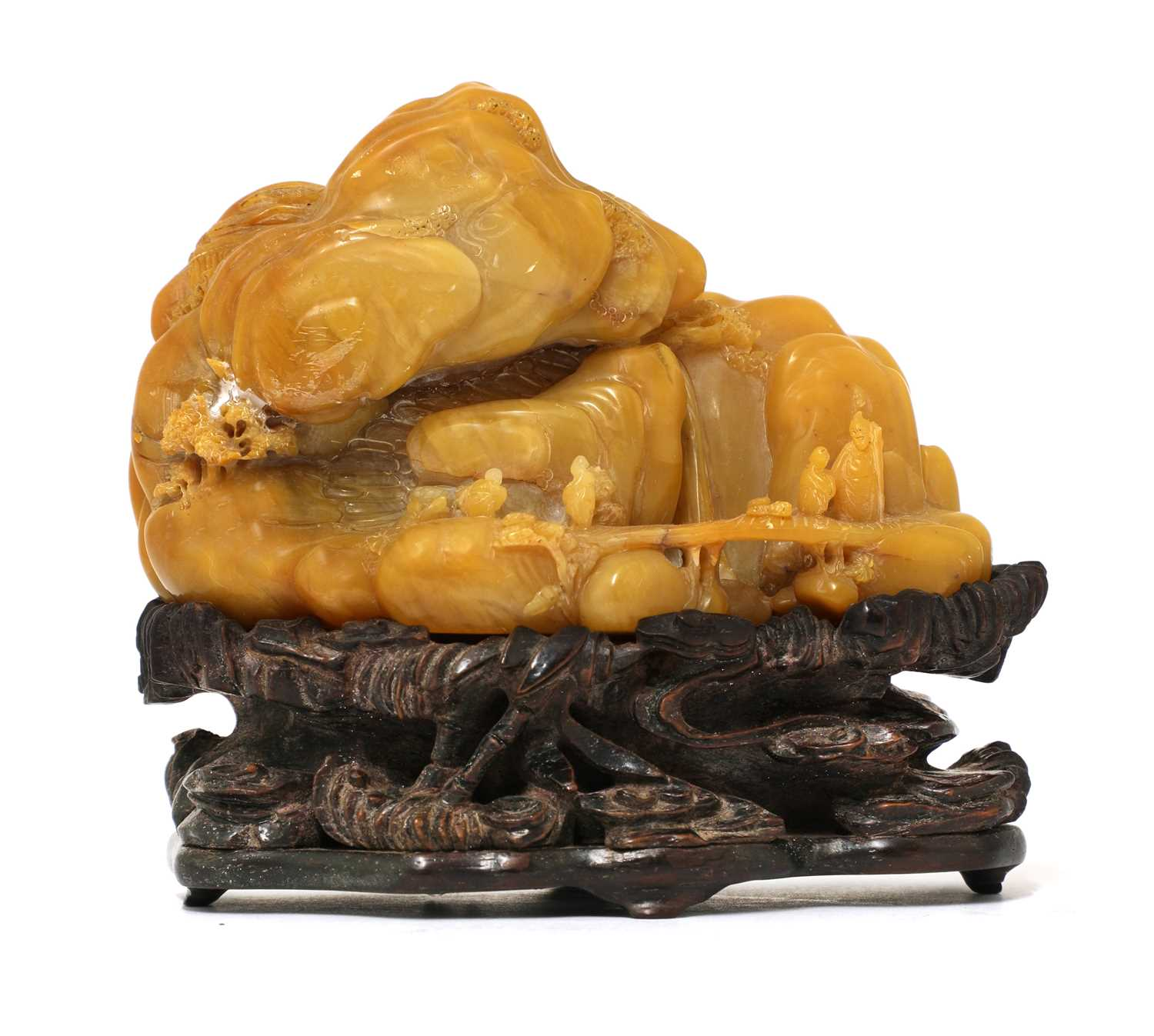 Lot 84 - A Chinese soapstone boulder carving