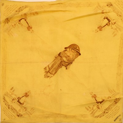 Lot 55A - Bruce Bairnsfather, a printed silk head-scarfe, ' Trouville-sur-Somme'